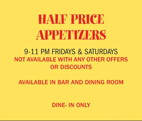 Half Price Appetizers